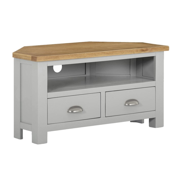 Linden Small Corner Tv Stand In Grey With Light Oak Top