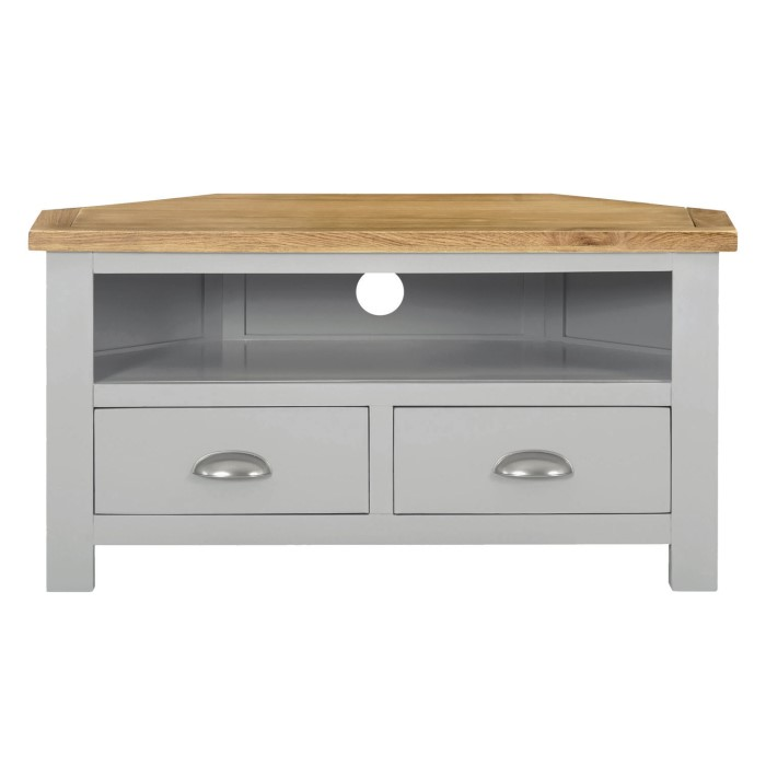 5774093ddad Linden Small Corner TV Stand in Grey with Light Oak Top - Farmhouse Style