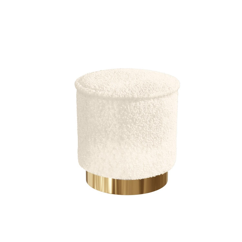 Leo Small Faux Sheepskin Stool in Cream Fabric