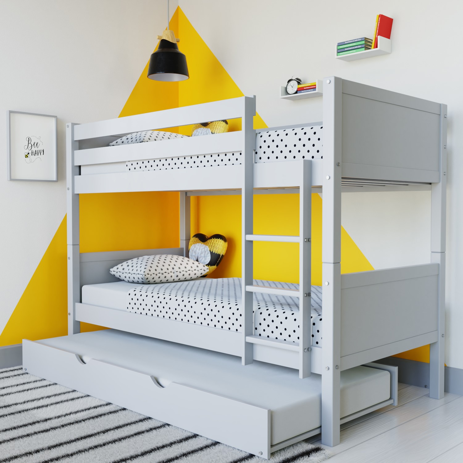 Luca Kids Bunk Bed With Pull Out Trundle In Pale Grey Furniture123