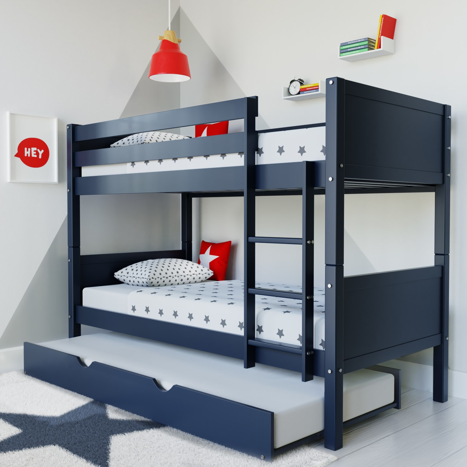 Luca Kids Bunk Bed With Pull Out Trundle In Navy Blue Furniture123