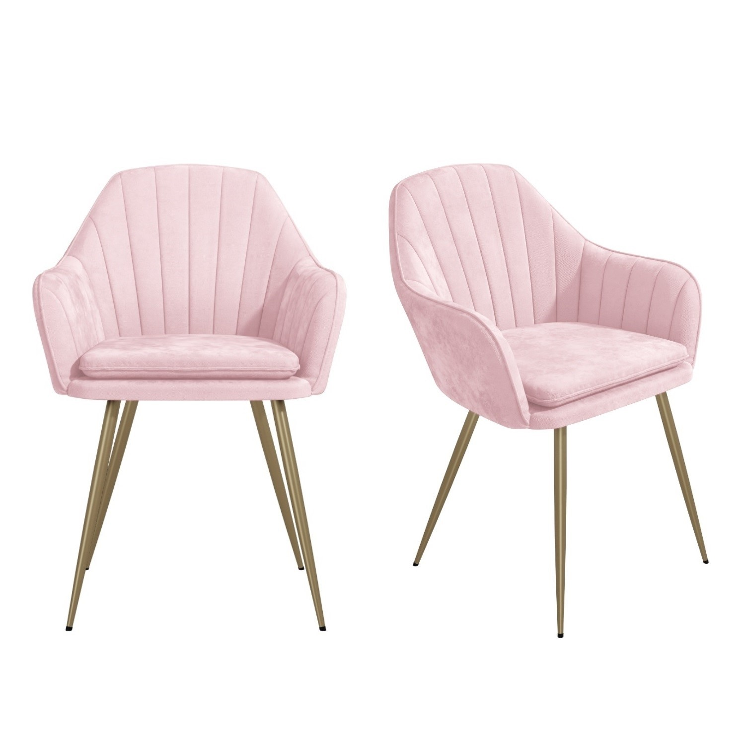 Set of 3 Pink Velvet Dining Tub Chairs with Gold Legs - Logan