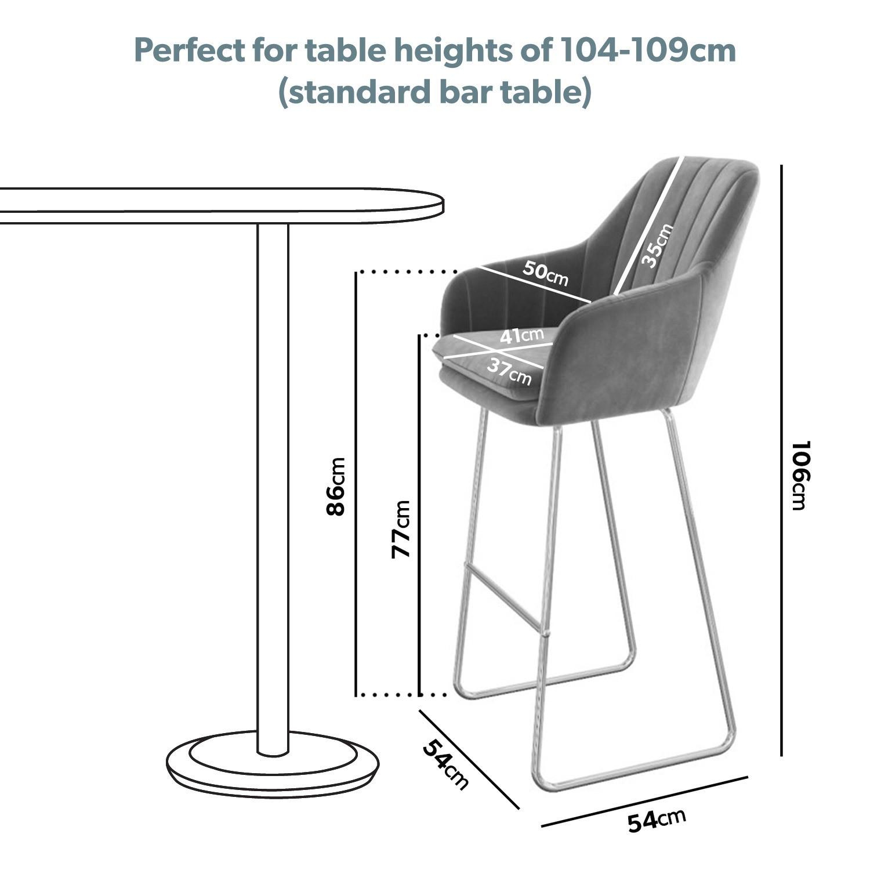 Picture of: Grey Velvet Tub Bar Stool With Chrome Legs Logan Furniture123
