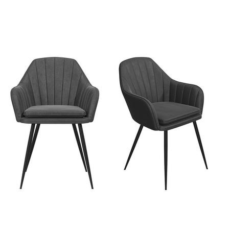 Set of 2 Grey Faux Leather Dining Tub Chairs with Black Legs - Logan