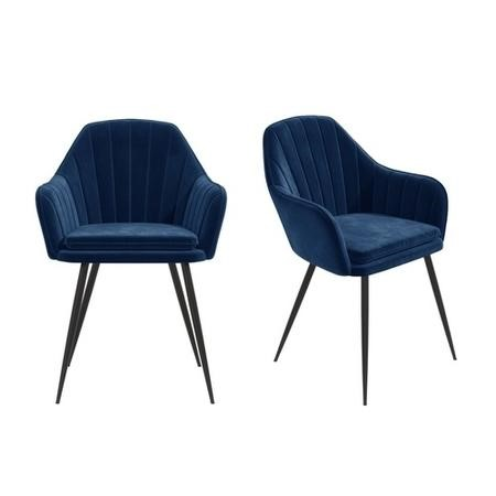 Navy Blue Velvet Tub Chairs with Black Legs - Set of 2 - Logan