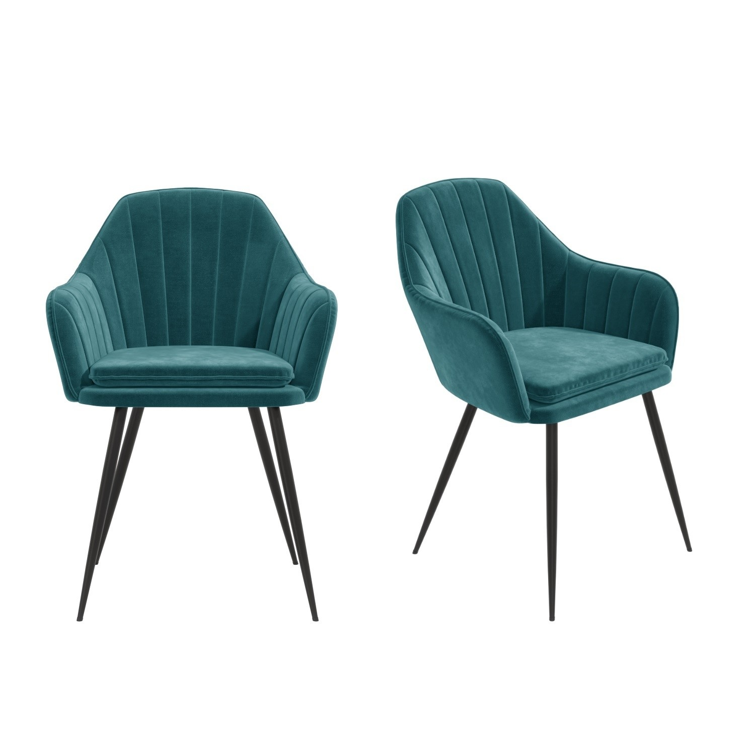 Set Of 2 Teal Blue Velvet Dining Tub Chairs With Black Legs Logan Furniture123