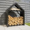 Rowlinson Apex Black Wooden Outdoor Log Store