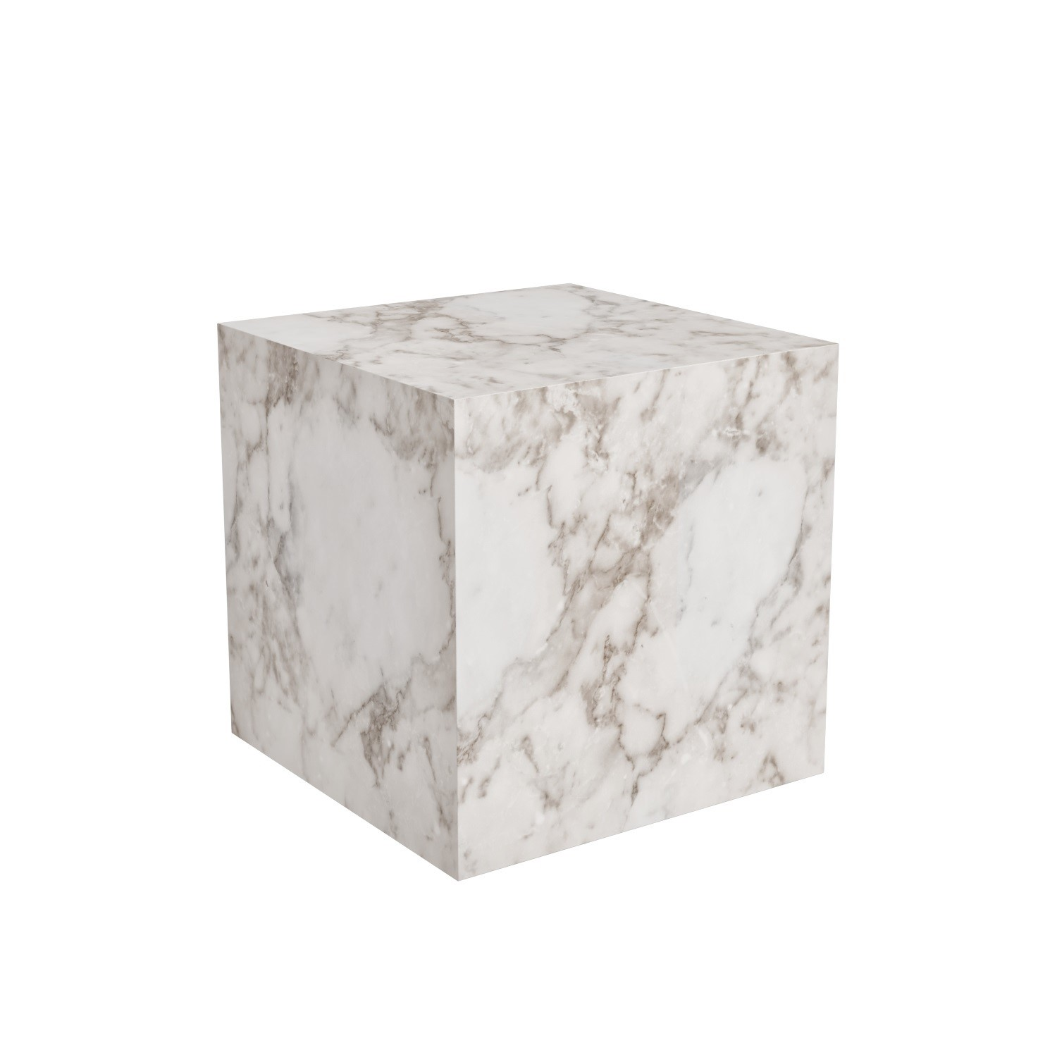 White Faux Marble Cube Side Table Lori Furniture123