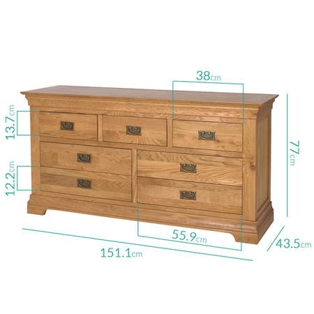 Loire Solid Oak Farmhouse 4+3 Drawer Wide Chest of Drawers