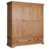 Loire Oak Farmhouse 3 Door 2 Drawer Wardrobe