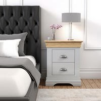 Loire Grey and Oak 2 Drawer Bedside Table
