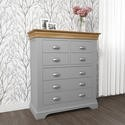 LOR024 Loire Grey and Oak 4+3 Drawer Wide Chest