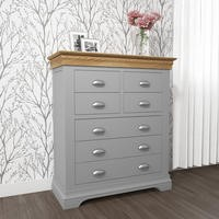 Loire Grey and Oak 4+3 Drawer Wide Chest