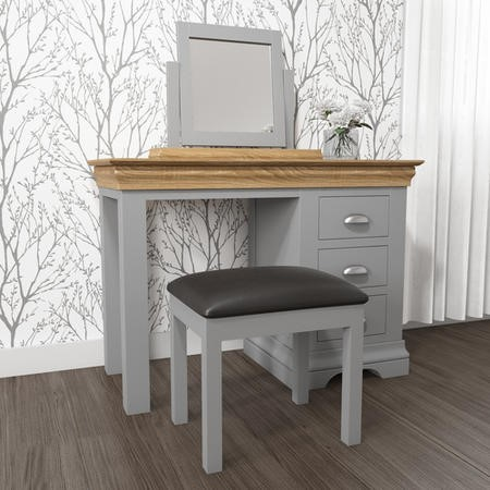 Loire Two Tone Dressing Table in Grey and Oak