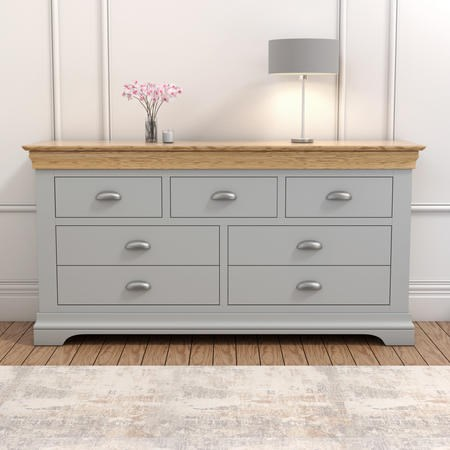 Loire Two Tone Wide Chest of Drawers in Grey and Oak