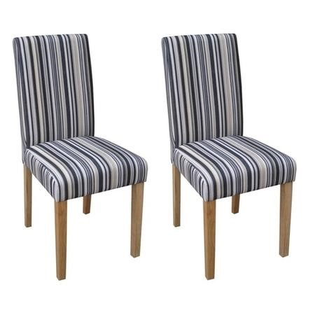 LPD Limited Pair of Blue Stripe Lorenzo Chairs