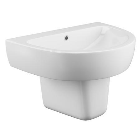 Curve Wall Mount Sink with Semi Pedestal - 1 Tap Hole