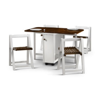 Julian Bowen Lucy Dining Set in White and Walnut