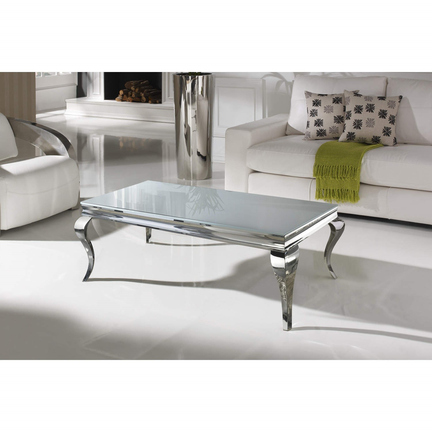 Louis Large Mirrored Coffee Table In White Vida Living Furniture123