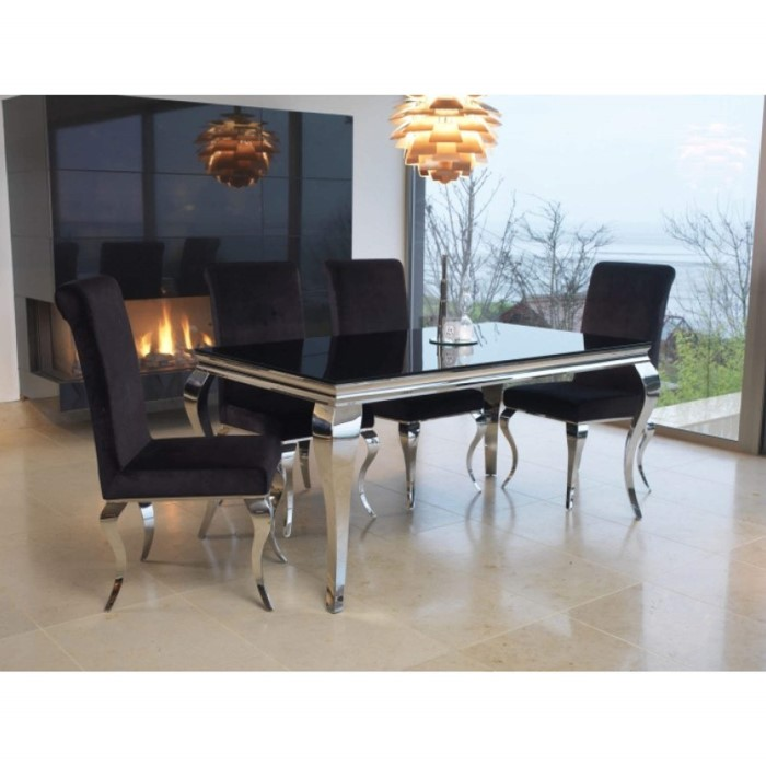 Louis 160cm Mirrored Dining Table with Black Glass - Seats 4-6 ...
