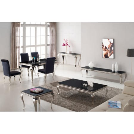 Louis 160cm Mirrored Dining Table with Black Glass - Seats 4-6 People - By Vida Living