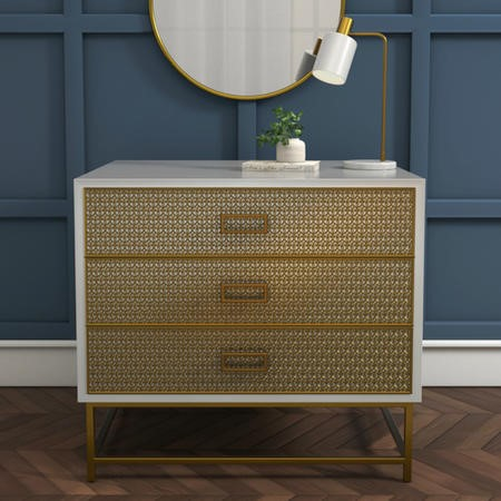 Luna Pale Grey Chest of Drawers with Gold Fretwork - 3 Drawer