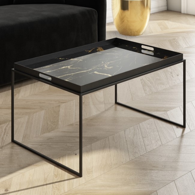 Medium Black Tray Table - Coffee Table - Lux