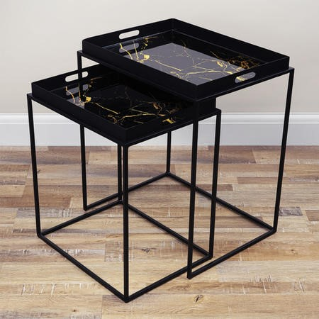 Black Tray Nesting Tables with Gold Marble Design - Lux