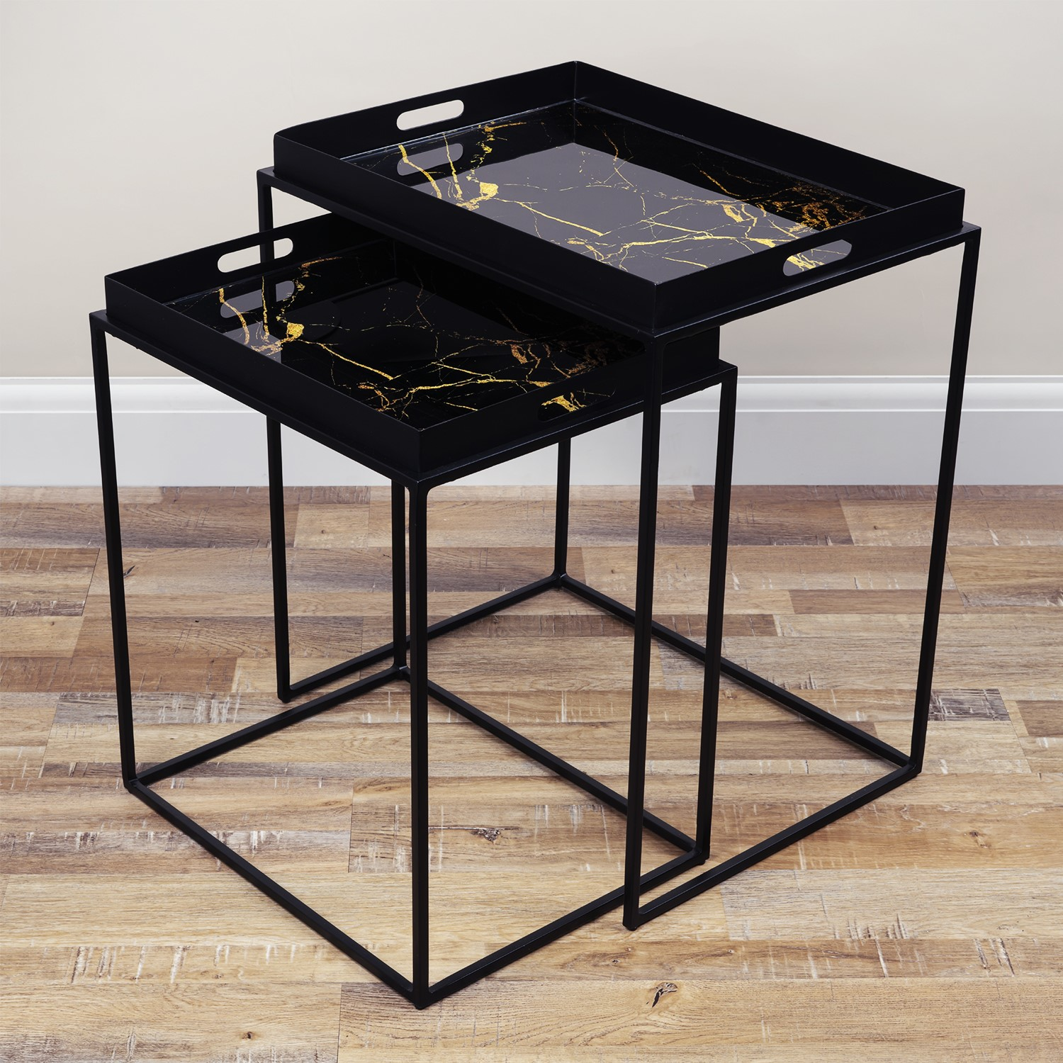 Black Tray Nest of Tables with Gold Marble Design  Lux