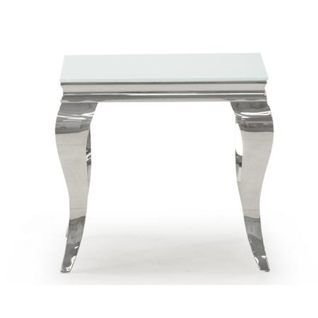 Louis Mirrored Side Table in White - Vida Living