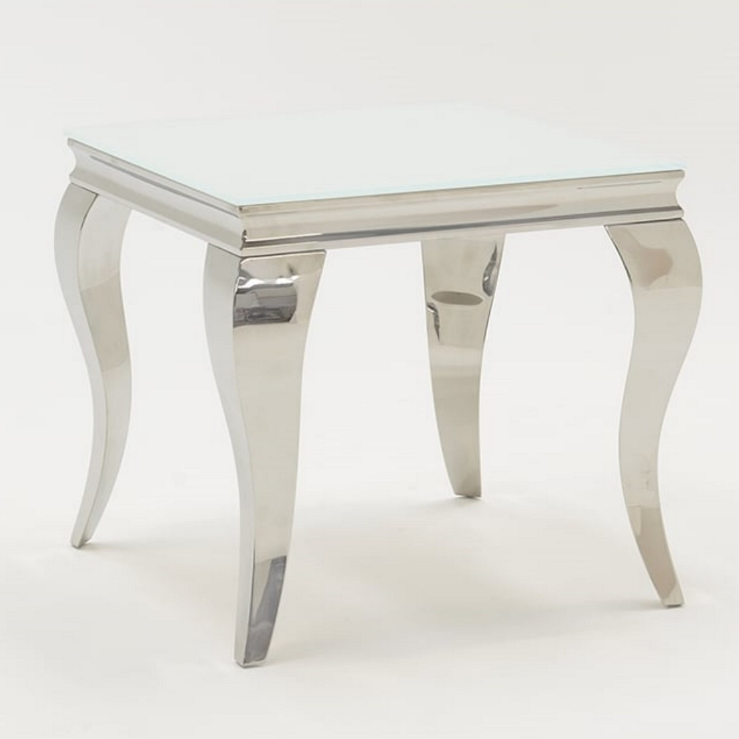 Picture of: Louis Mirrored Side Table In White Vida Living Furniture123