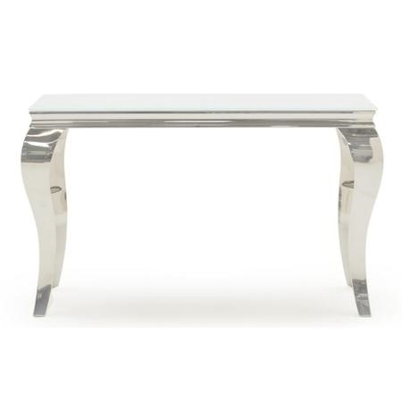 Louis Mirrored Console Table in White - By Vida Living