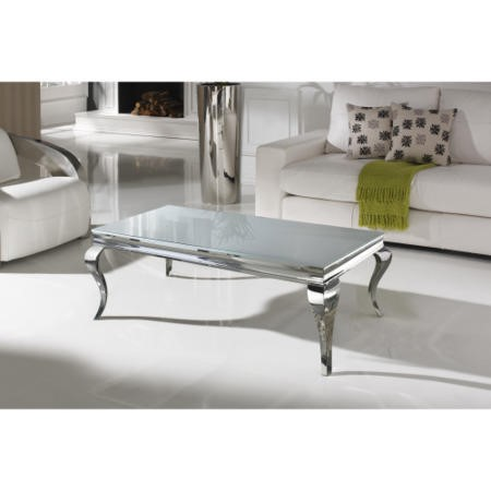 Louis Large Mirrored Coffee Table in White - By Vida Living