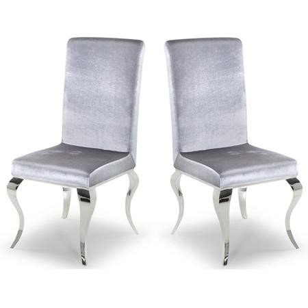 GRADE A1 - Pair of Louis Silver Dining Chairs with Mirrored Legs