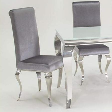 Louis mirrored dining chairs silver velvet pair of chairs furniture123 - Silver dining table and chairs ...