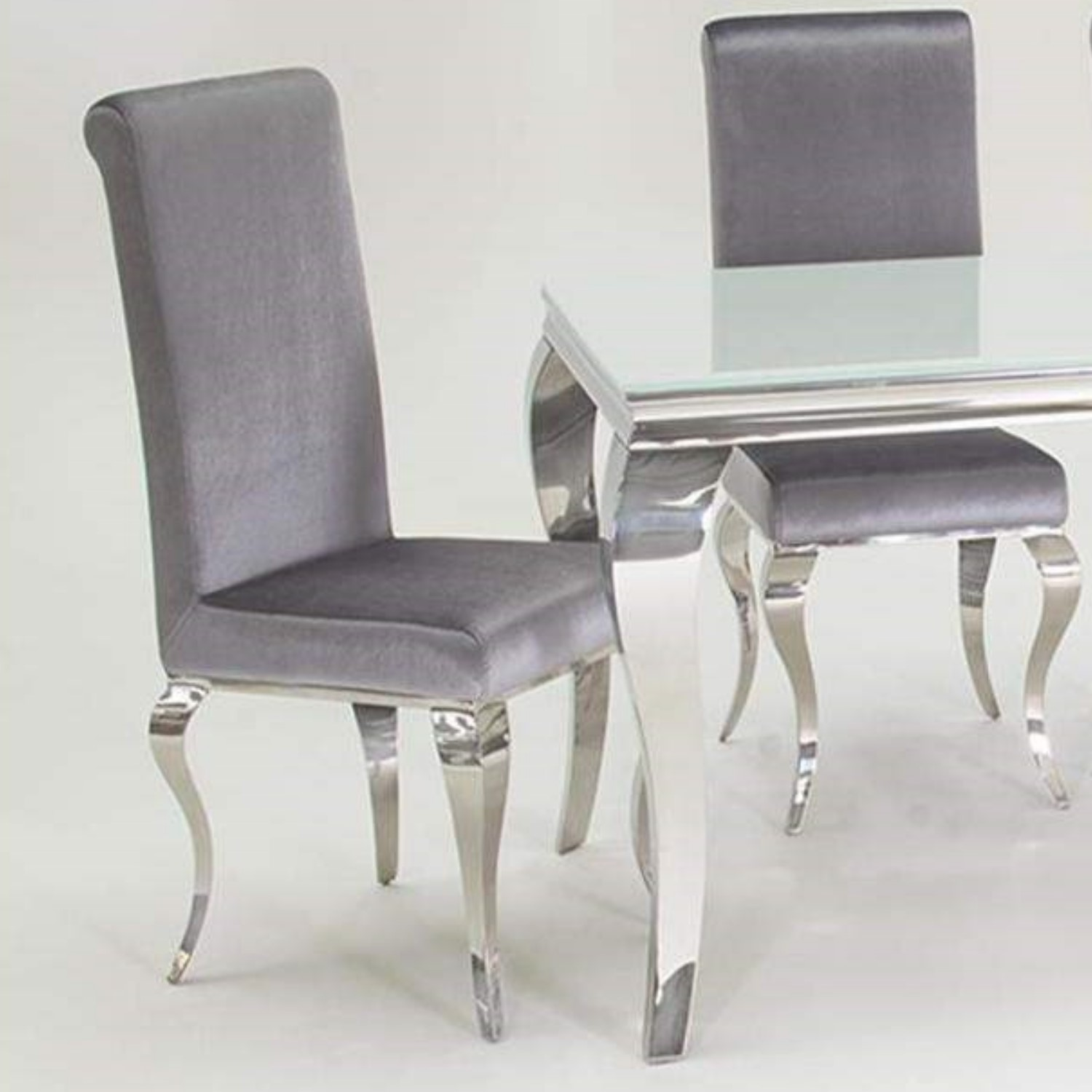 Miraculous Louis Pair Of Silver Velvet Dining Chairs With Mirrored Legs Vida Living Camellatalisay Diy Chair Ideas Camellatalisaycom