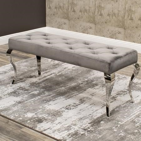 Louis Grey Velvet Bench - Vida Living 170cm