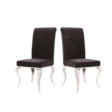 GRADE A1 - Louis Pair of Black Velvet Dining Chairs -Vida Living