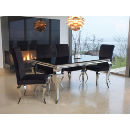 Louis Pair Of Black Velvet Dining Chairs Vida Living Furniture123