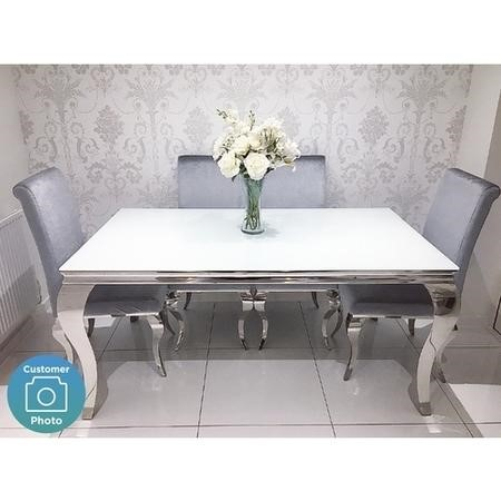 Louis 200cm Mirrored Dining Table with White Glass - Seats 6-8 People By Vida Living
