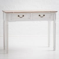 New Hampshire Distressed White 2 Drawer Console Table
