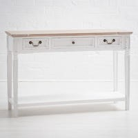 New Hampshire Distressed White 3 Drawer Console Table