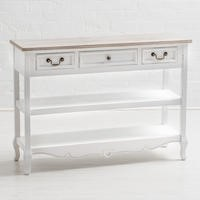 Vermont Shabby Chic 3 Drawer Shelved Console Table