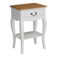 Sebago Bedside Table in Stone White and Cedar Wood Top