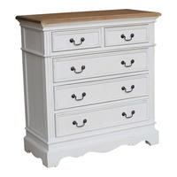 Sebago 2 Over 3 Chest Of Drawers Stone White and Cedar Wood Top