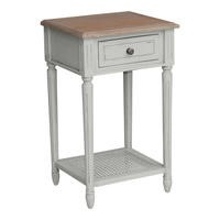 Hope Bedside Table French Grey and Cedar Wood Top