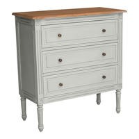 Hope 3 Drawer Chest Of Drawers French Grey and Cedar Wood Top