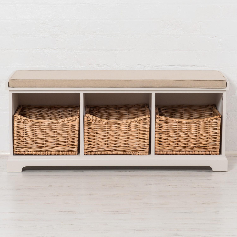 Charmant Newport Hallway Storage Bench With 3 Wicker Baskets U0026amp; Cushion