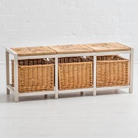 Newport Rustic Storage Bench with Woven Seat Pads