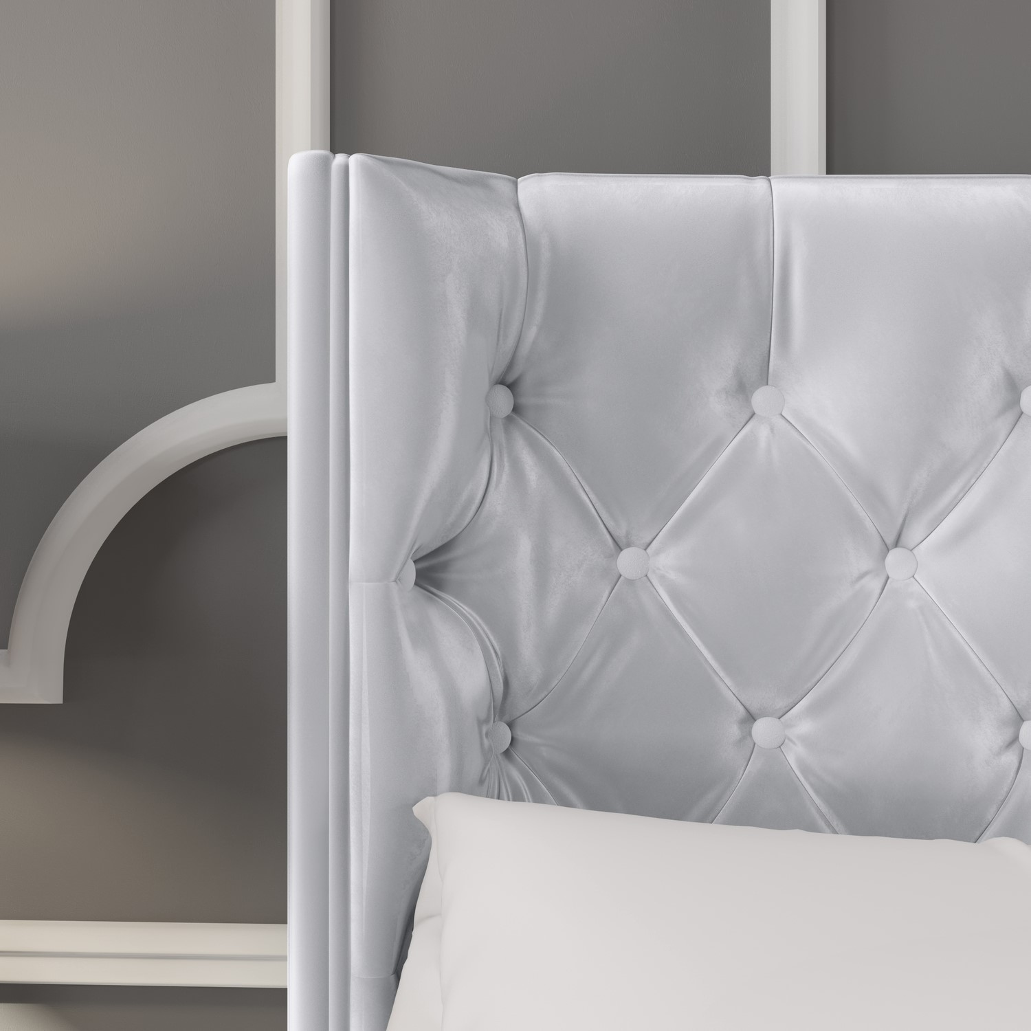 Milania King Size Ottoman Bed In Silver Grey Velvet With Curved